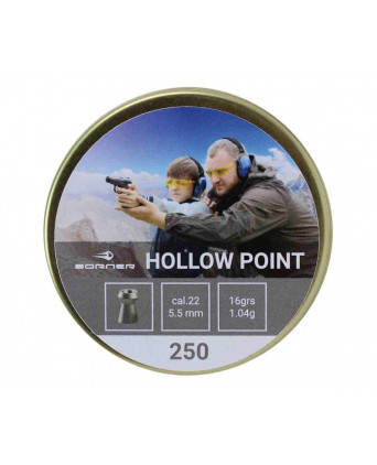 Пули Borner Hollow Point 4,5 мм, 0,58 грамм, 250 штук