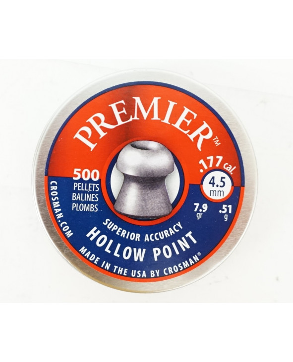 Пули Crosman Premier Hollow Point 4,5 мм, 0,51 грамм, 500 штук