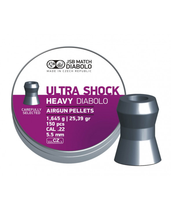 Пули JSB Ultra Shock Heavy Diabolo 5,5 мм, 1,645 грамма, 150 штук