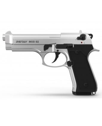 Охолощенный СХП пистолет Retay MOD92 (Beretta) 9mm P.A.K, хром
