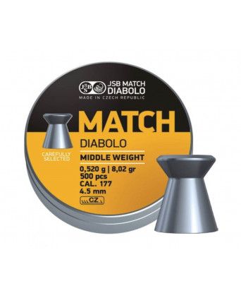 Пули JSB Yellow Match Diabolo Middle 4,5 мм, 0,52 грамм, 500 штук