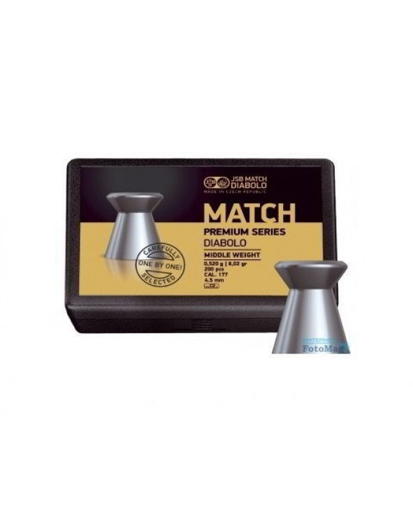 Пули JSB Match Premium Middle 4,5 мм, 0,52 грамм, 200 штук